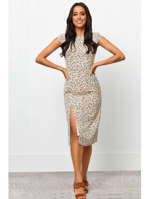 Round Neckline Short Sleeves Front Split Midi Dress