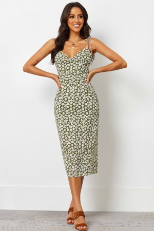 Sheath V Neckline Floral Print Polyester Midi Dress