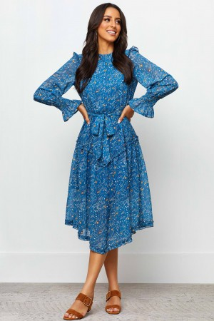 High Round Neckline Long Sleeves With Shirred Cuff Floral Print Midi Dress