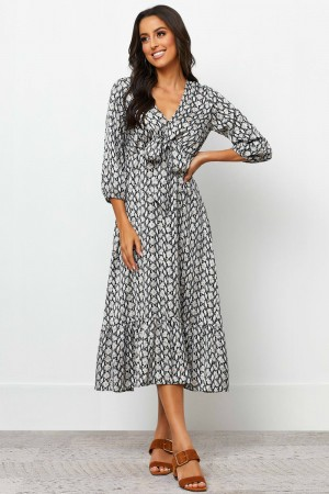 V Neckline 3/4 Length Sleeves Ruffle Hem Midi Dress
