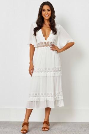 V Neckline Half Sleeves With Ruffles Lace Midi Dress