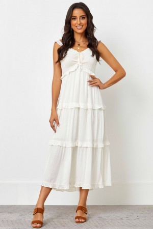 Elasticised Ruffle Neckline No Sleeves Natural Midi Dress