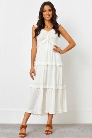 Elasticised Ruffle Neckline No Sleeves Natural Midi Dress