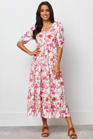 V Neckline Half Sleeve With Elasticated Cuff Maxi Dress
