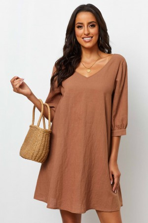 V Neckline Half Sleeves With Cuff Short Dress