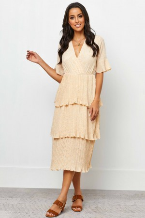 V Neckline Half Sleeves With Ruffle Cuff Midi Dress