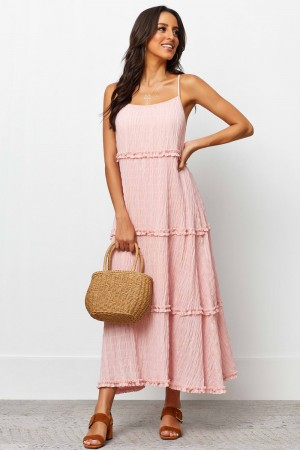 Cowl Neckline Thin Straps Tiered Ruffle Detailing Maxi Dress
