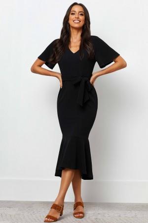 V Neckline Short Sleeves Detachable Waist Tie Maxi Dress
