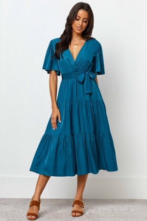 V Neckline Short Sleeves Belt Hoops Midi Dress