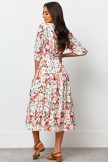 V Neckline Mid Length Sleeves Floral Print Midi Dress