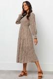 Round Neckline Long Sleeves Elasticised Waist Midi Dress